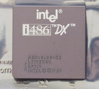 Intel 486 A80486DX-33 SX419 33 MHz 168 pin PGA processor - 486DX i486 33MHz CPU PGA168 socket 1 2 3 vintage retro 90s