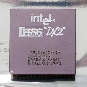 Intel 486 A80486DX2-66 SX807 66 MHz 168 pin PGA processor - 486DX2 i486 66MHz CPU PGA168 socket 1 2 3 vintage retro 90s