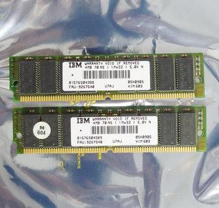Set 2x IBM 05H0905 FRU 92G7540 4MB 8MB kit 70ns 72-pin gold contacts SIMM non-parity FPM RAM memory modules - vintage retro 90s