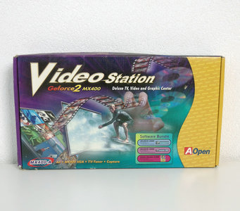 New AOpen Video Station NVIDIA GeForce2 MX400 VGA TV-out analog TV-tuner capture graphics AGP PC card adapter - NOS